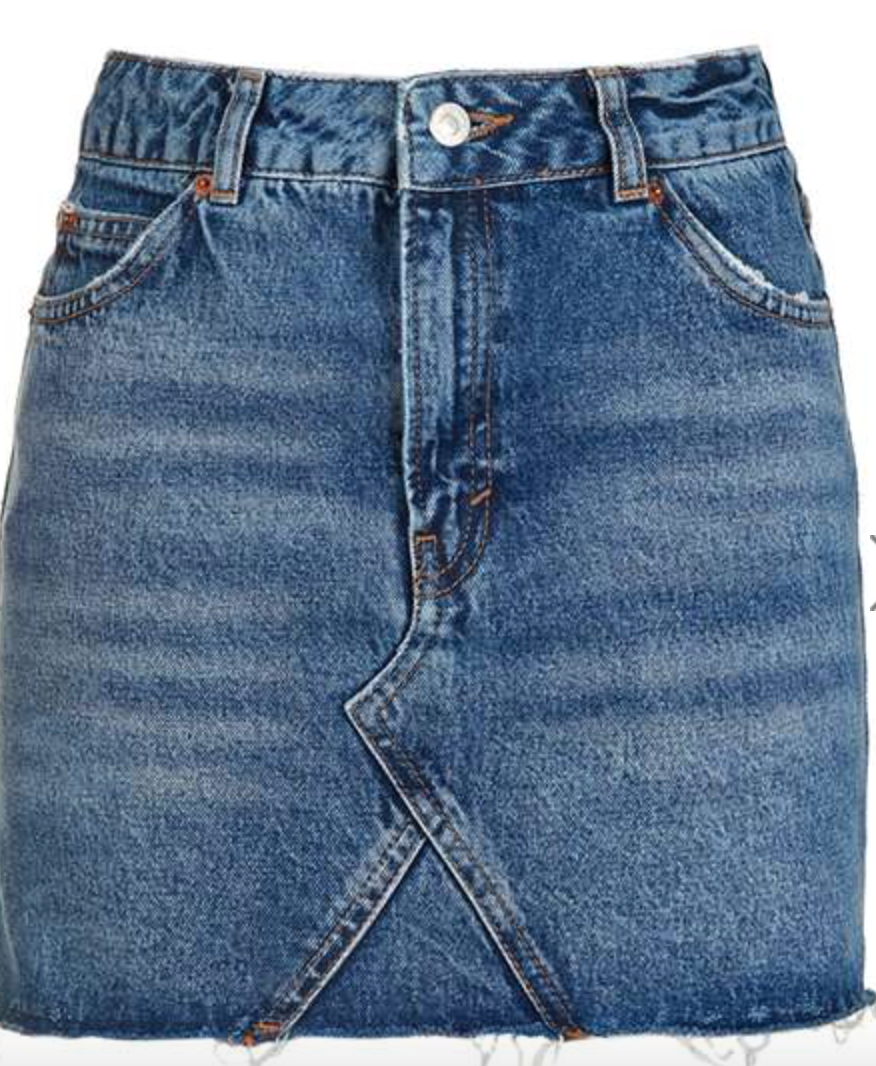 Topshop- MOTO Denim High Waist Pelmet Skirt: $55