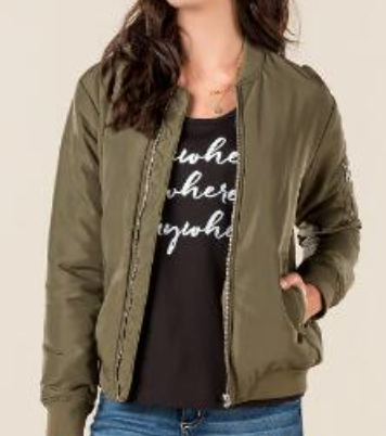 Francesca's- Oxford Classic Bomber Jacket: $48