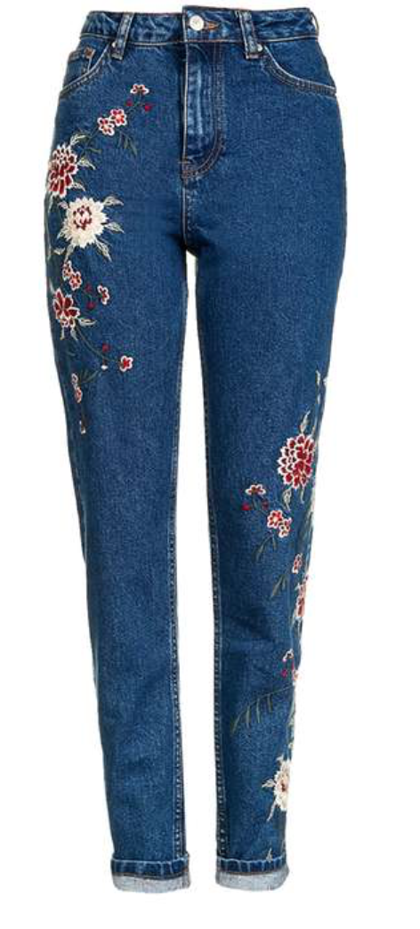 Topshop- MOTO Dark Blue Embroidered Mom Jeans; $110