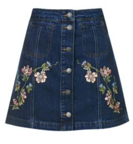 Topshop- MOTO Floral Embroidered Skirt: $66