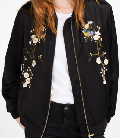 Zara- Floral Embroidered Bomber Jacket: $129