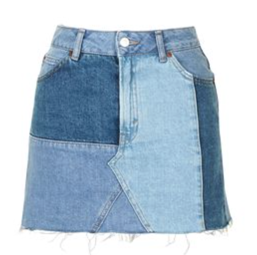 Topshop- MOTO Denim Patch Work Pelmet: $60